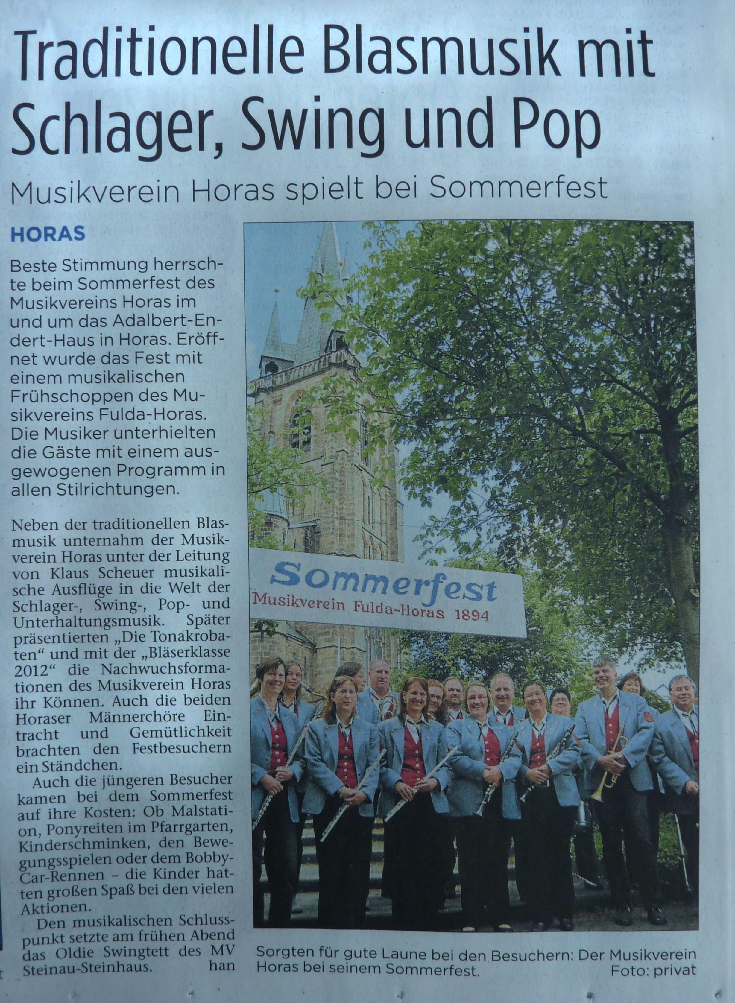 Presseerscheinung der Fuldaer-Zeitung zum Sommerfest 2013